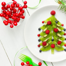 Christmas tree fruit on a plate