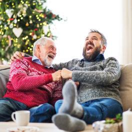 dad and son at christmas